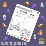 Image of National School Lunch Week worksheet with colorful background