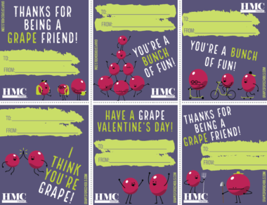 Sheet of 6 valentines featuring animated grape characters